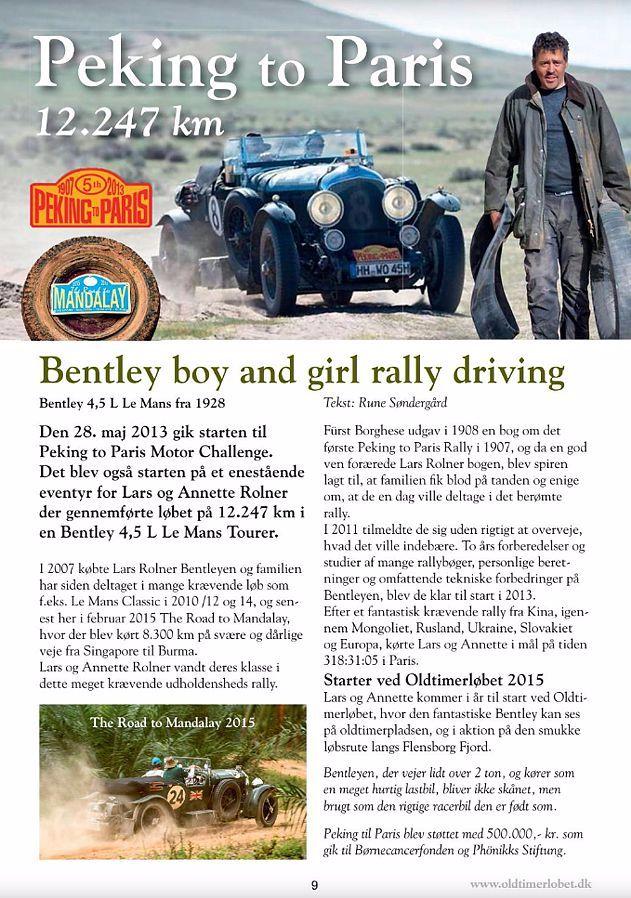 Lars Rolner i Bentley fra 1928 starter Oldtimerløbet