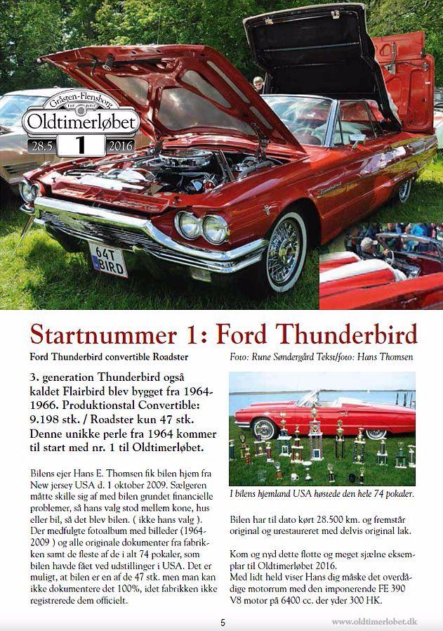 Ford Thunderbird start nr. 1 i Oldtimerløbet 2016